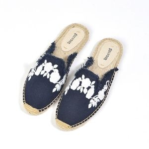 Soludos Frayed Navy Embroidered Espadrille Mules